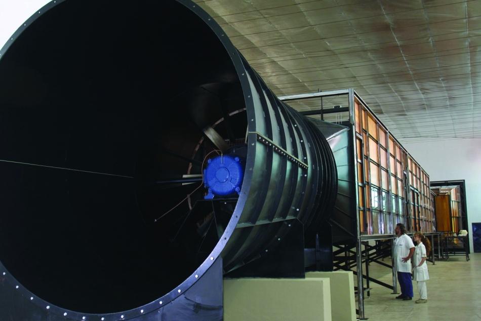 túnel de vento em teste