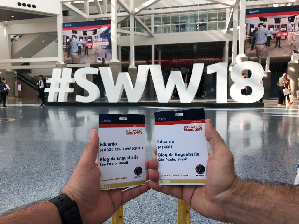 Credenciais para o Solidworks World 2018 - Eduardo Slabocicor Cavalcanti e Eduardo Mikail