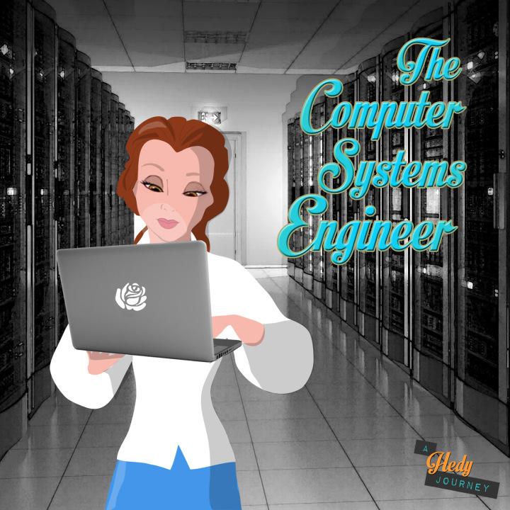 Bela princesa da Disney de engenheira de computação