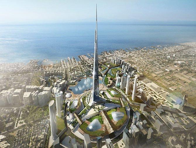 Projeção gráfica de como será a Jeddah Tower, na Arábia Saudita