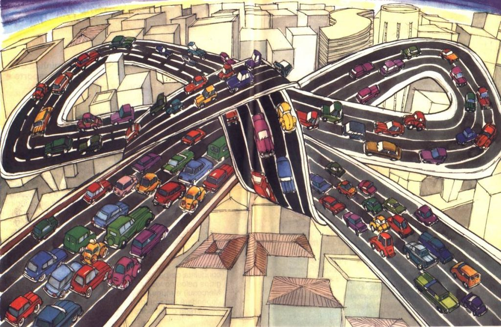 Imagem ilustrativa de carros e vias enrolados,representando a mobilidade urbana e o mundo pós pandemia