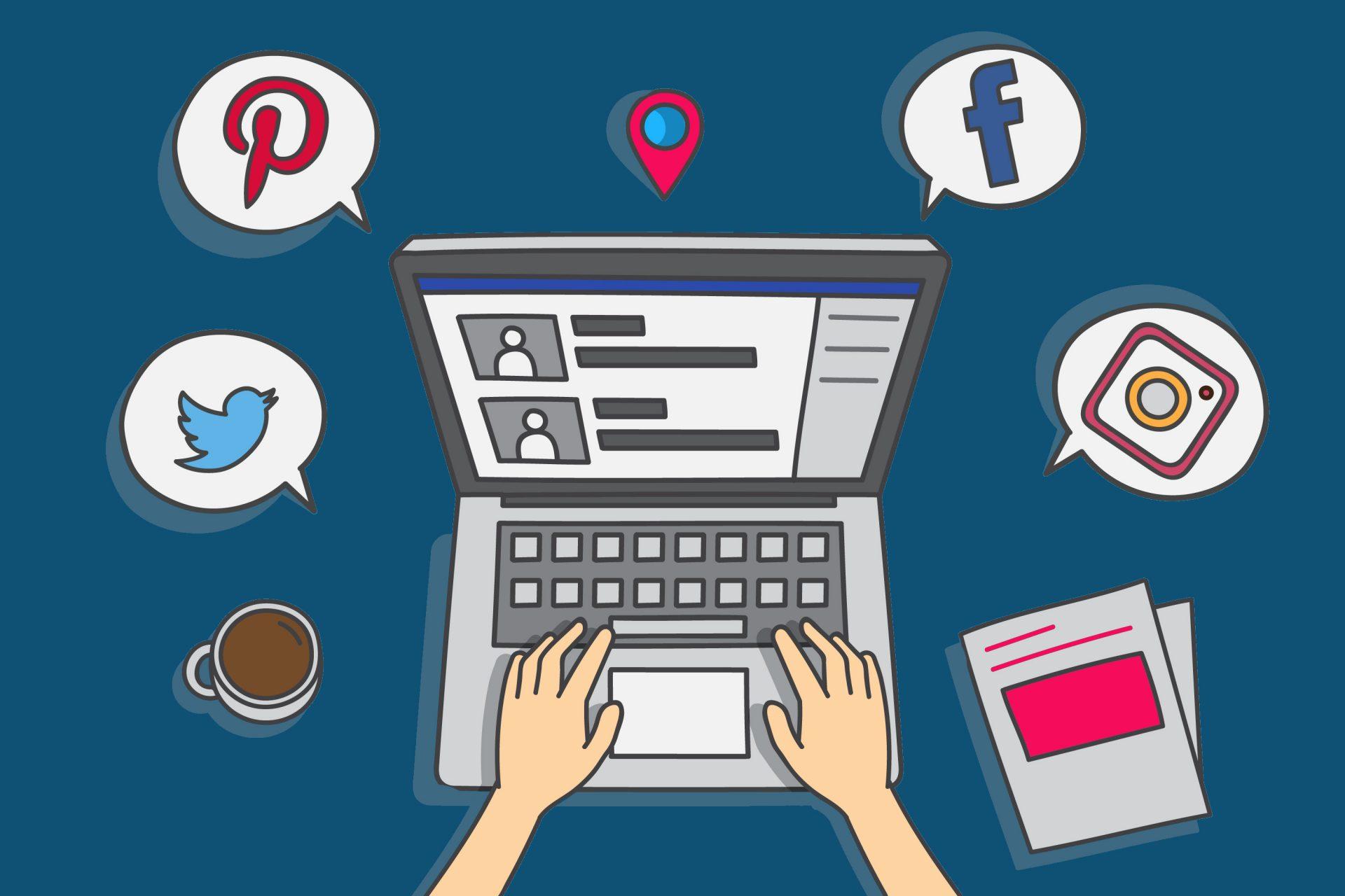 redes sociais ilustração de mãos digitando