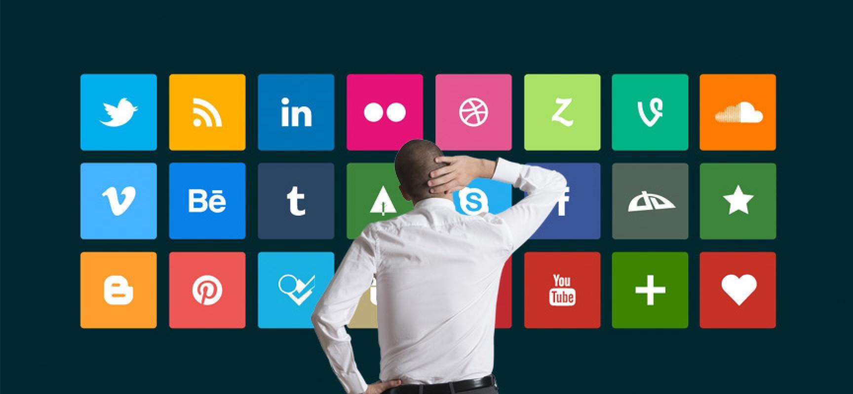 imagem ilustrativa de homem com a mão na cabeça olhando para painel com ícones de aplicativos
