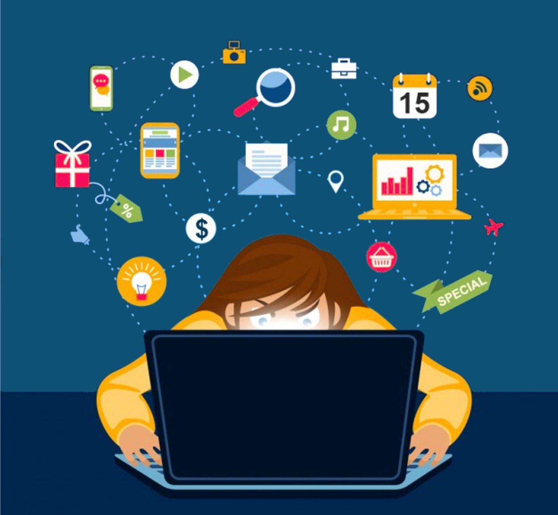 redes sociais ilustração de pessoa digitando