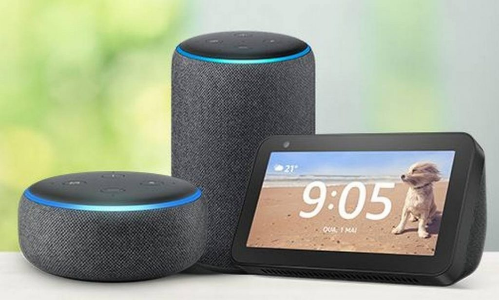 alexa da amazon em dispositivos echo dot, echo e echo show