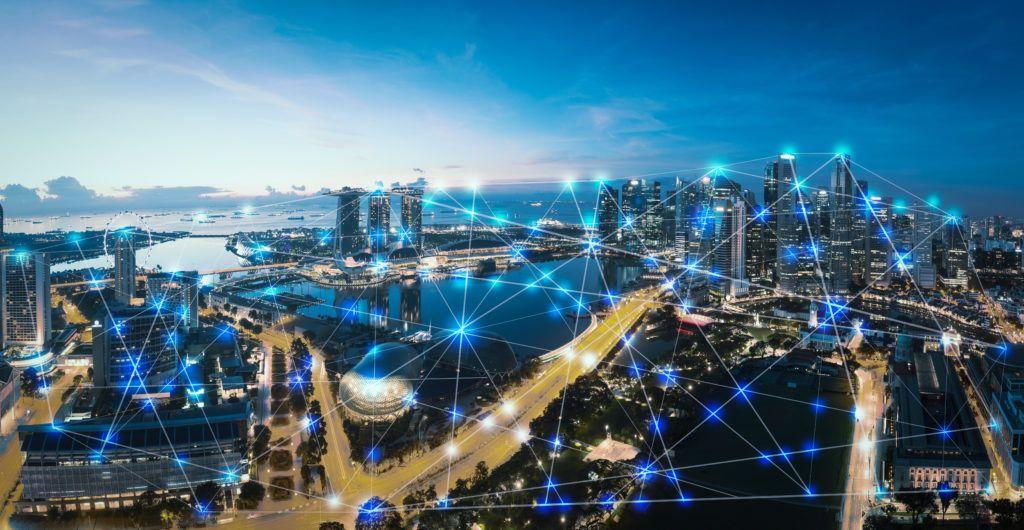 Representação gráfica de pontos de conexões entre pontos de uma cidade.