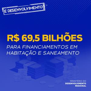 imagem investimento de 69,5 bilhões de reais para financiamento em habitação e saneamento