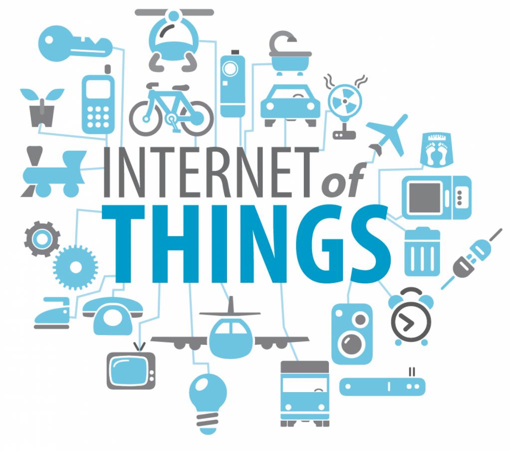 Imagem ilustrativa com fundo branco e escrita IoT em azul e cinza