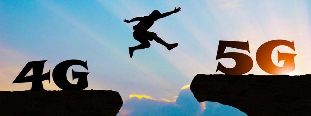 Homem saltando de 4G para 5G