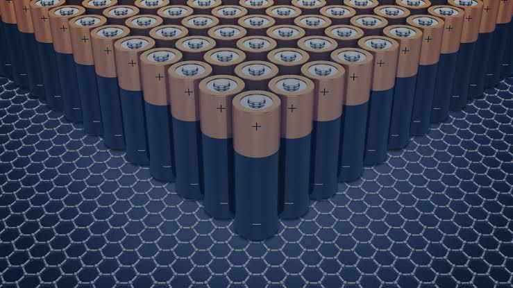 imagem de arranjo hexagonal grafeno com baterias sobreposta