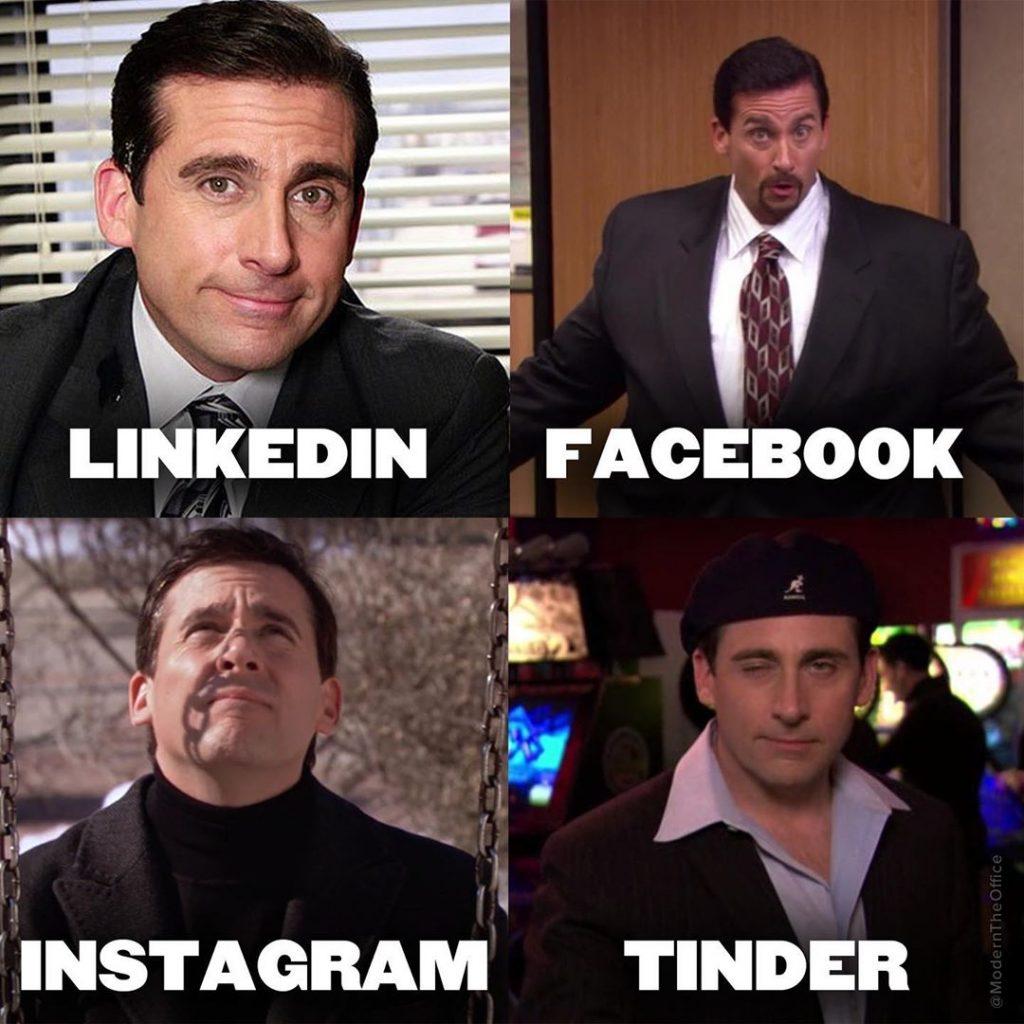 Imagem de meme Linkedin, Facebook, Instagram e Tinder