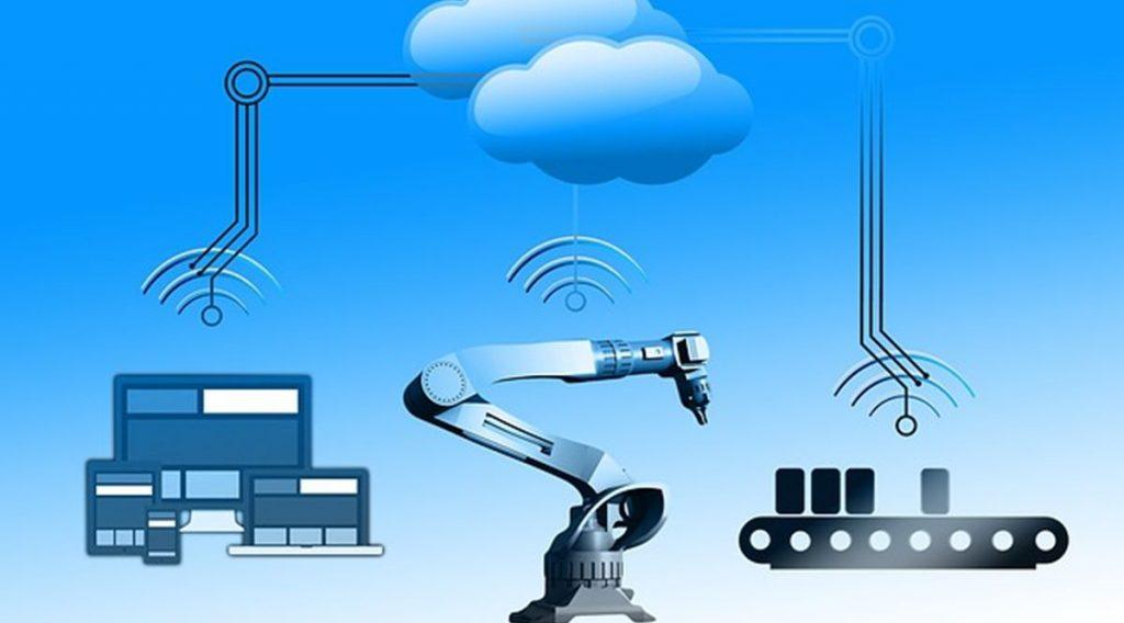 Imagem de robôs e tecnologias se conectando na Indústria 4.0