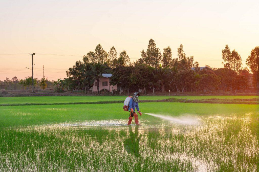 aplicação de pesticida na agricultura