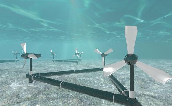 A imagem mostra as turbinas de uma usina Maremotriz, que é localizada embaixo do oceano, com o objetivo de identificar o movimento das marés.