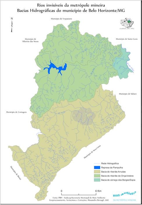 mapa com rios invisíveis de Belo Horizonte