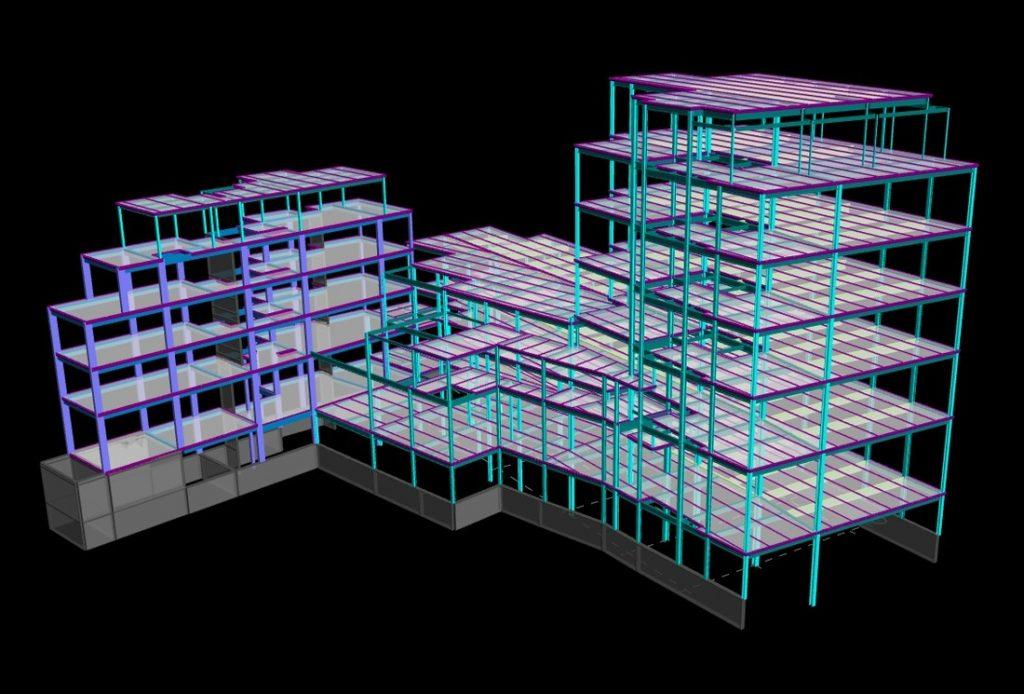 estrutura BIM em software visualização 3D