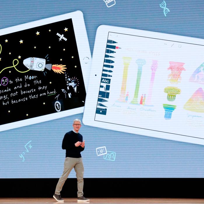 apresentação do iPad 2018, voltado para educação