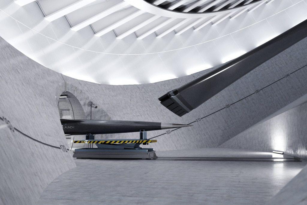 Renderização ilustrativa do interior da centrífuga. Imagem: SpinLaunch.