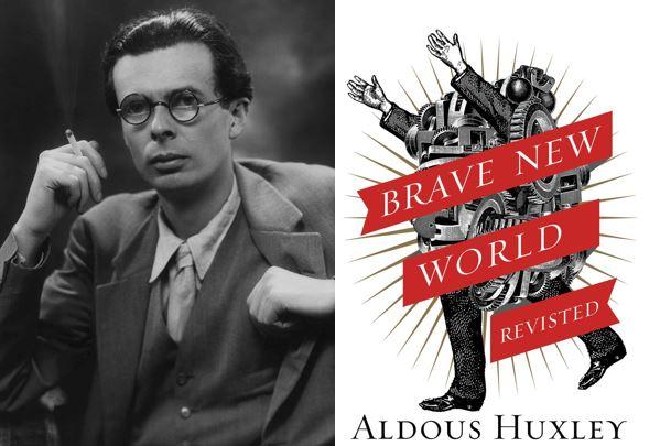 """O autor Aldous Huxley e a capa da obra """"Admirável Mundo Novo"""". Imagens: researchgate.net e wikipedia.com"""