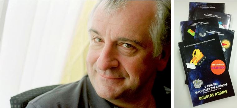 """O autor Douglas Adams e a coleção de livros  """"Guia do Mochileiro das Galáxias"""". Imagens: revistagalileu.globo.com e acervo pessoal."""