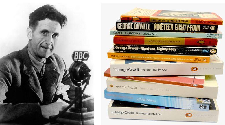 O autor George Orwell e coleção de edições da obra 1984, em inglês.