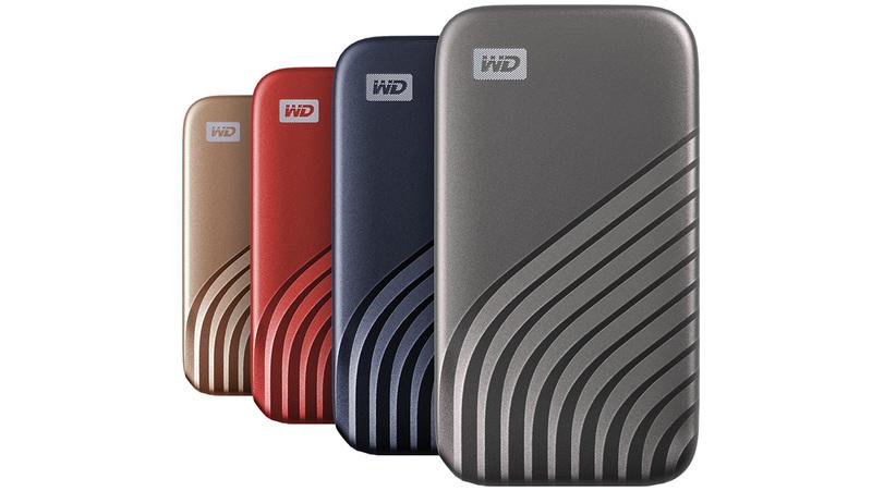 SSD my passport western digital em 4 cores diferentes: azul, vermelho, dourado e cinza escuro