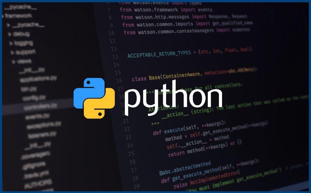 logo do python com fundo de código de programação