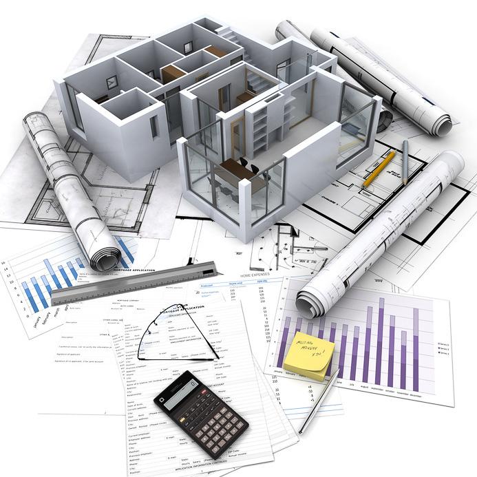 Maquete eletrônica de edificação sobre folhas de projetos e gráficos.