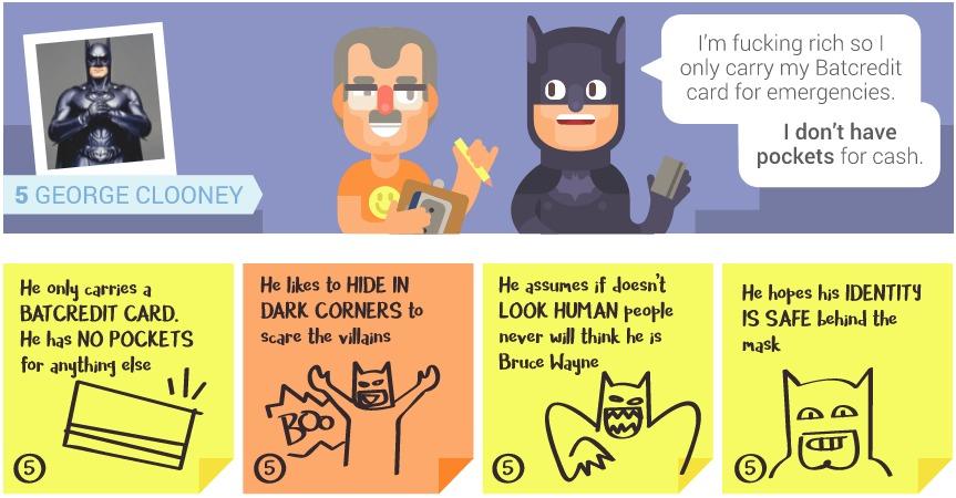 Imagem com desenho de entrevista com o Batman de George Clooney em animação. Abaixo, post its com informações coletadas.