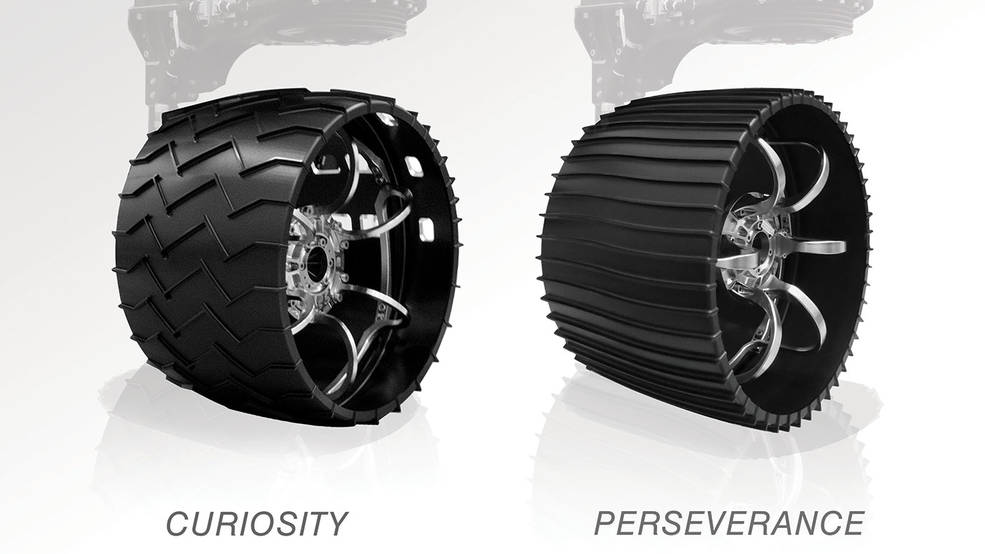 Ilustração comparando as rodas do Curiosity e do Perseverance. I