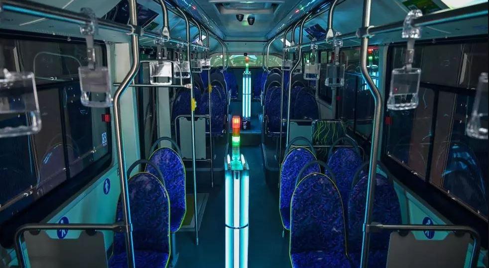 Desinfecção UV aplicada ao transporte público em Pequim. Imagem: france24.com