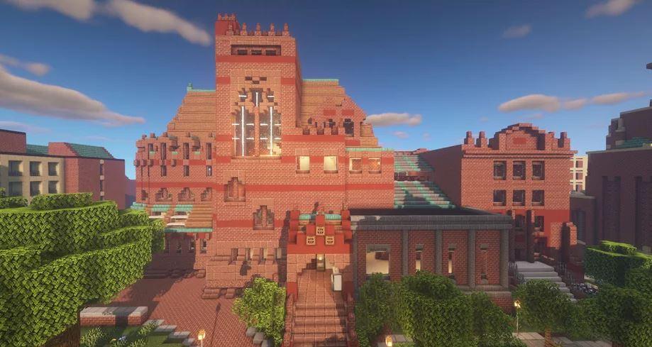 Simulação inspirada na Biblioteca Fisher Fine Arts da University of Pennsylvania. Imagem: Minecraft via Makarios Chung para o The Verge.