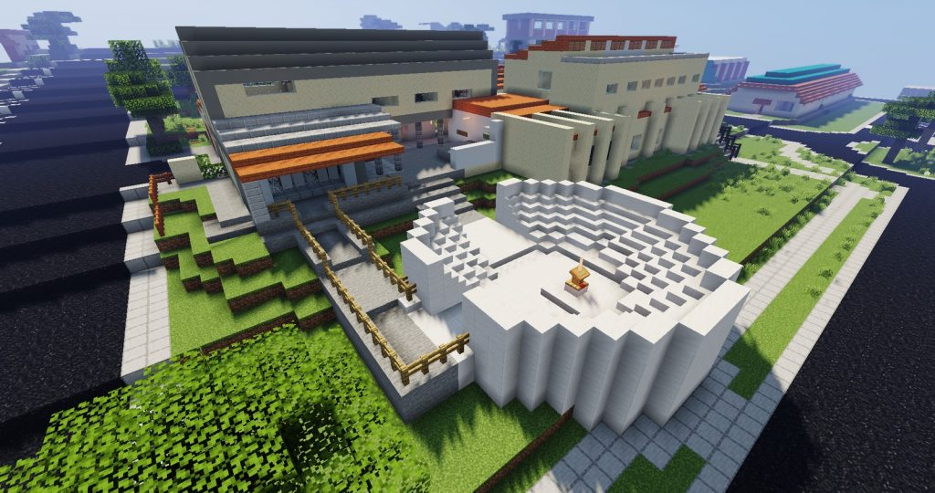"""""""Palquinho"""" na área sul da UFSCAR no Minecraft. Imagem: Minecraft via G1."""