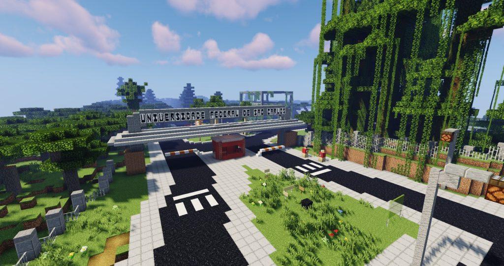 Entrada da UFSCar simulada no Minecraft. Imagem: Minecraft via G1.
