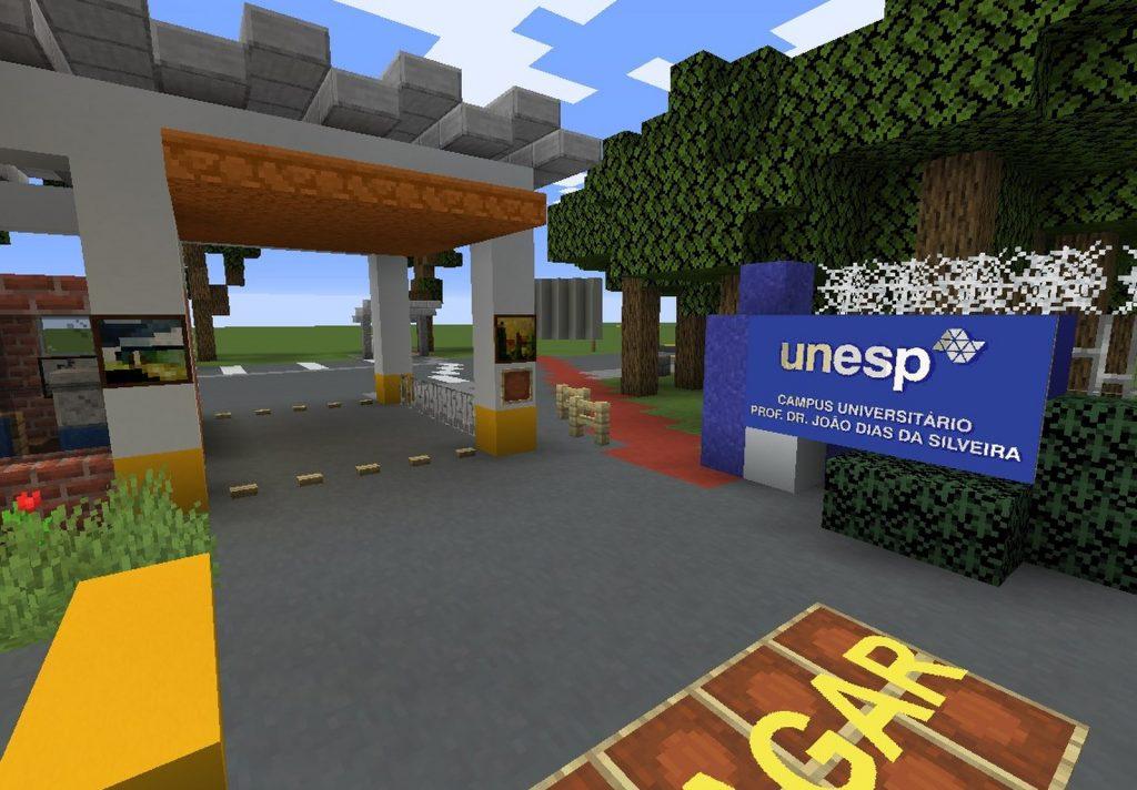 Entrada da UNESP de Rio Claro recriada em Minecraft. Fonte: Minecraft via G1.