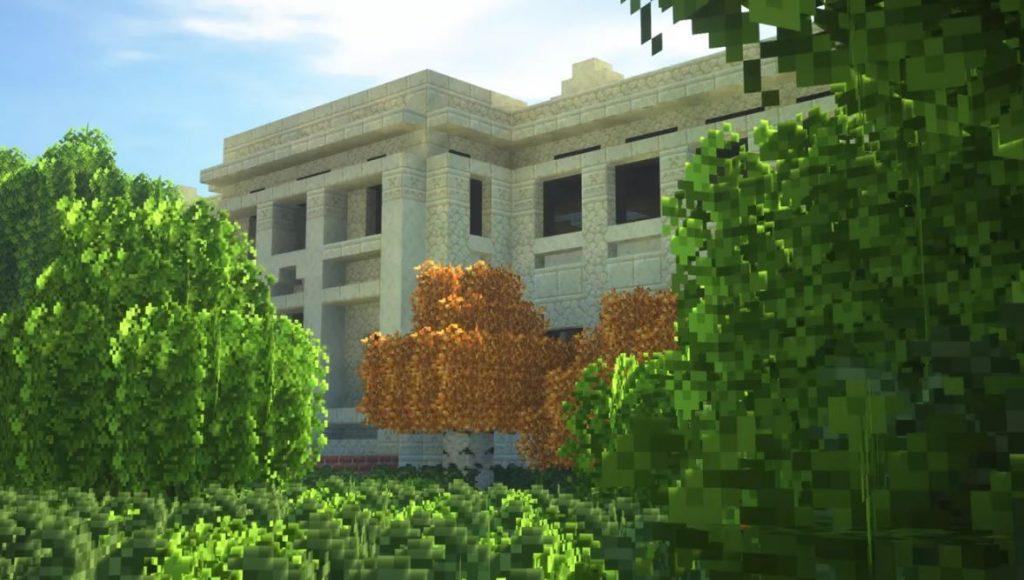 Simulação da University of Washington Architecture Hall. Imagem: Minecraft via The Verge.