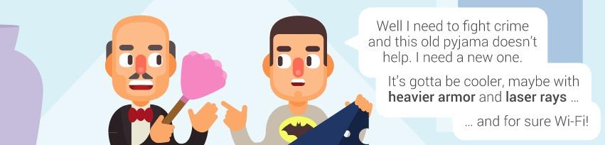 Diálogo entre Alfred e Bruce Wayne em animação com caixa de texto.