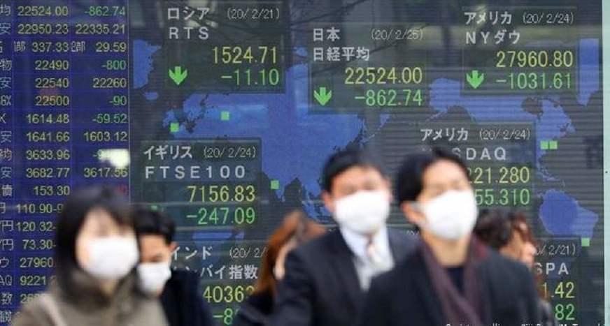 Gráfico de crise econômica com imagem de pessoas olhando a crise de máscara