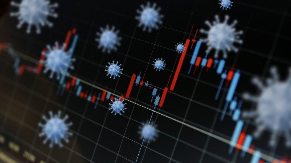 Gráfico de crise econômica com imagem interpolada do covid-19