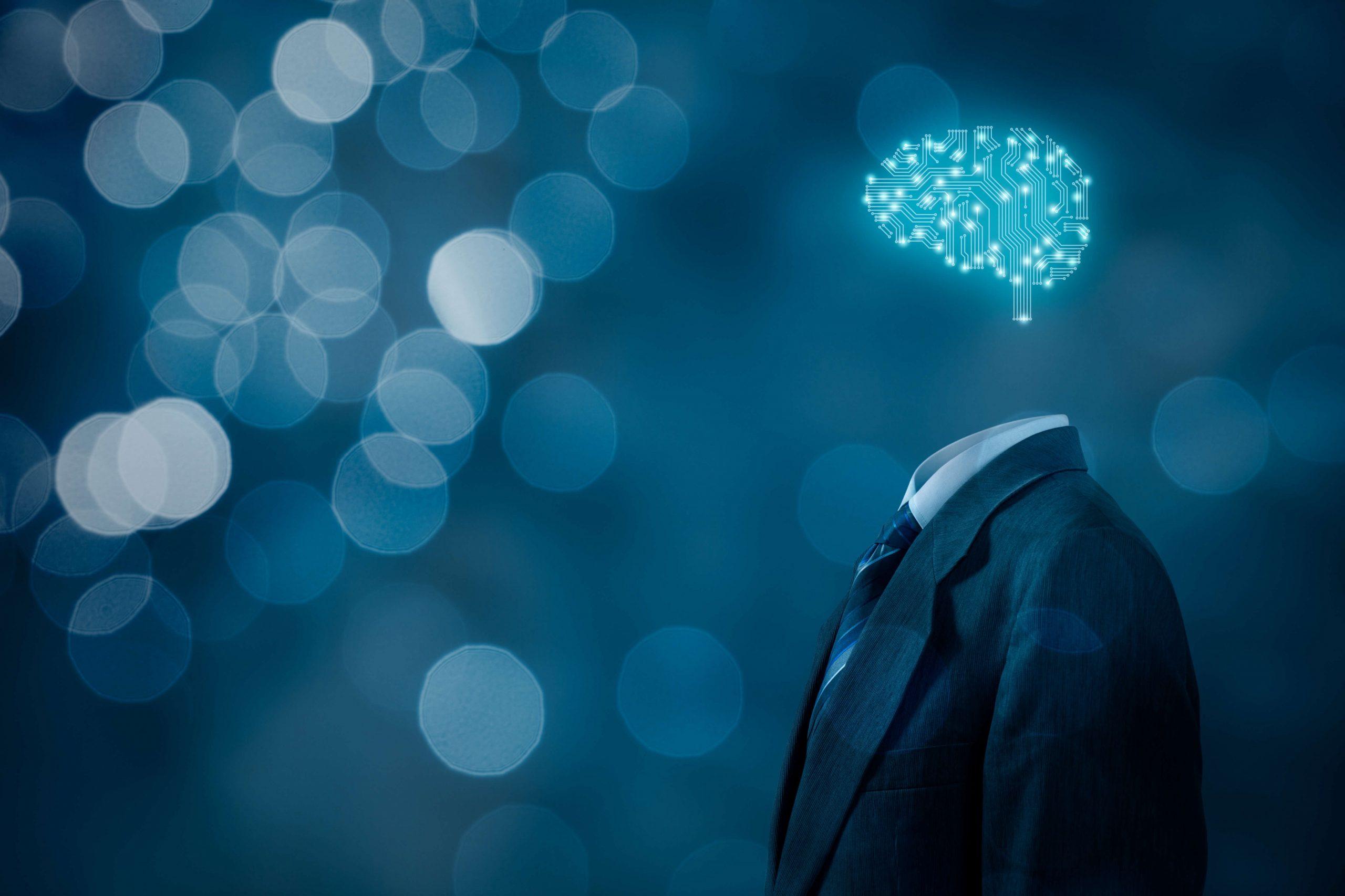 corpo de terno com cerebro artificial computacional