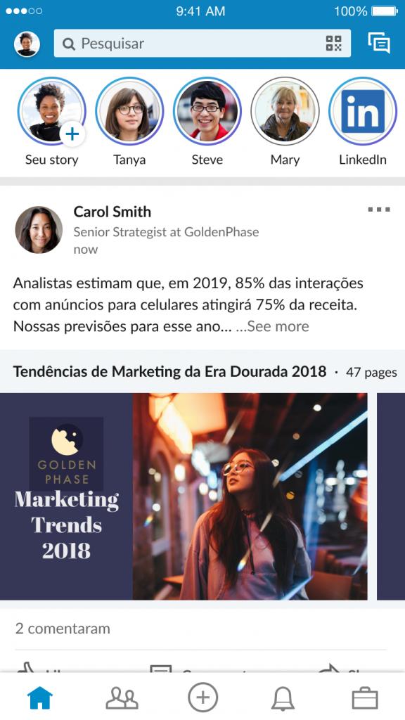Linkedin stories exemplo