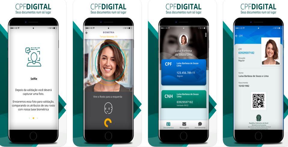 Imagem: capturas de tela disponíveis na App Store para o RFB Digital CPF