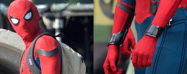Duas imagens lado a lado. A imagem da esquerda contém a face do homem-aranha com uma mochila nas costas. A imagem da direita mostra o acessório lançador de teia.
