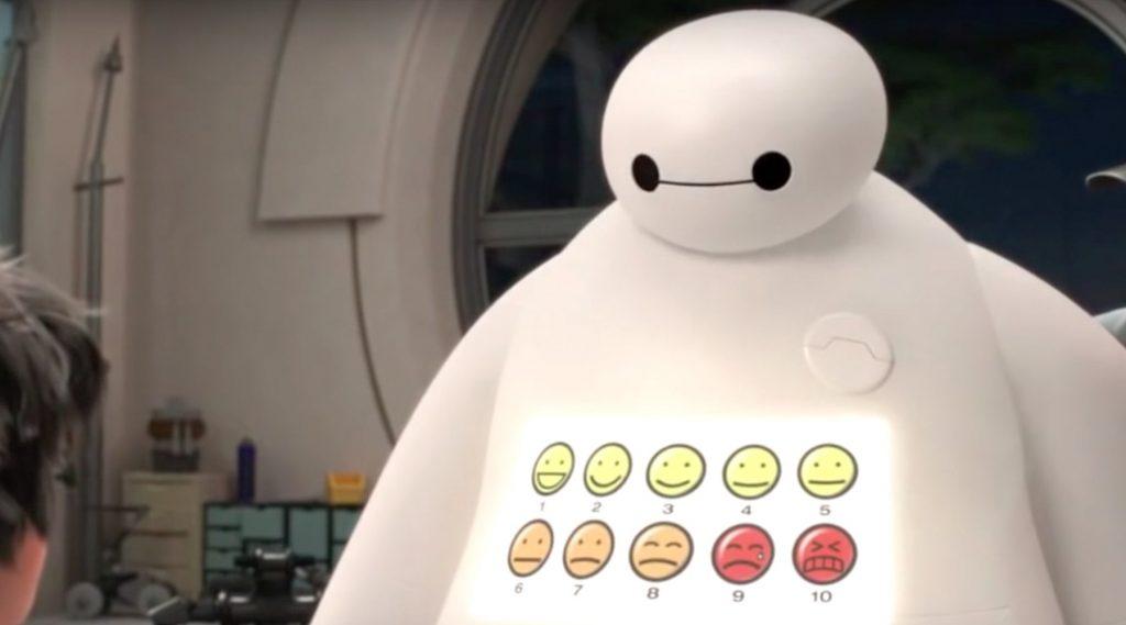 Escala de sensações no robô Baymax. Imagem: Disney Fandom.