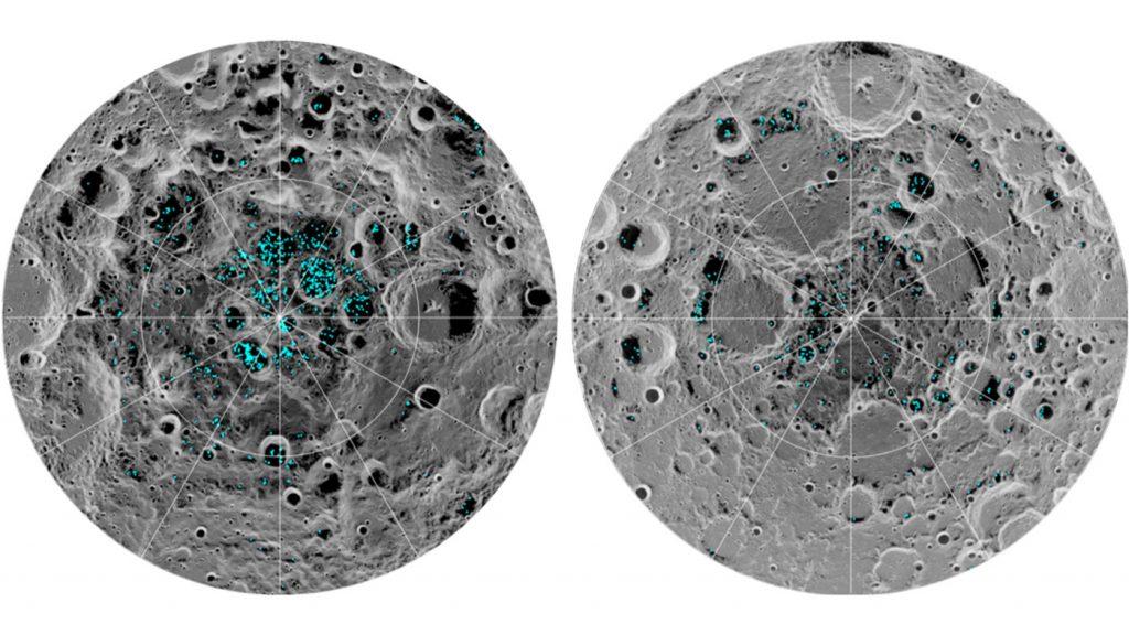 Resultados do M3 sobre a distribuição do gelo na Lua. Imagem: NASA.