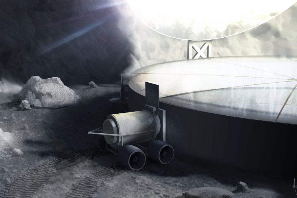 Detalhes do conceito de sistema para extração de gelo lunar. Imagem: George Sowers.