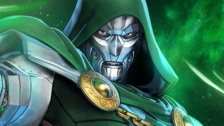 Imagem frontal da face do Doutor Destino, com sua armadura e máscara metálica, coberto com capuz verde.
