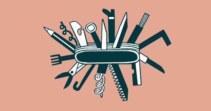 canivete com várias ferramentas
