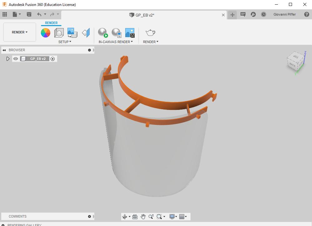 máscara de proteção contra o coronavírus no software Autodesk Fusion 360
