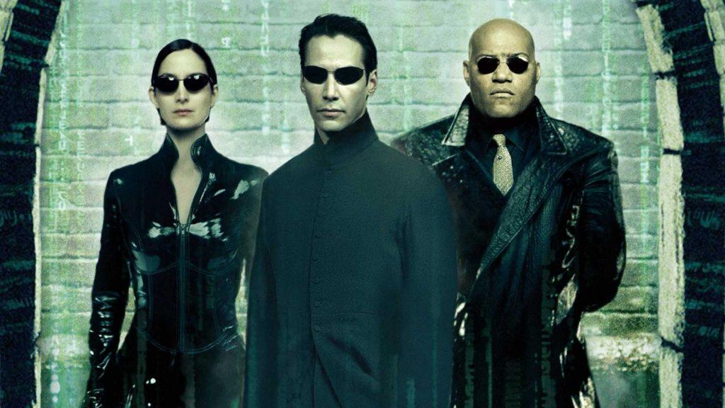matrix banner filme com Neo, Morpheus e Trinity
